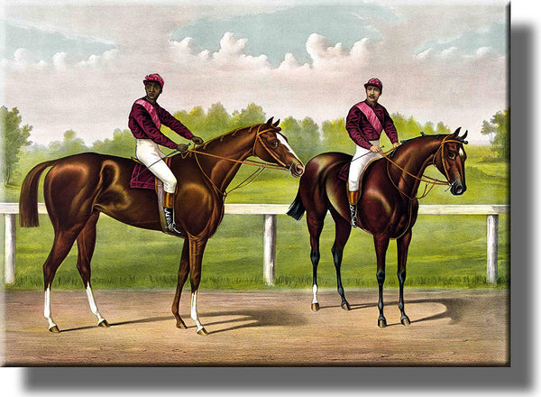 Horse Race Picture on Stretched Canvas Wall Art Décor Framed Ready to Hang!