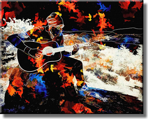 Abstract Guitar Player Picture on Stretched Canvas, Wall Art Décor, Ready to Hang