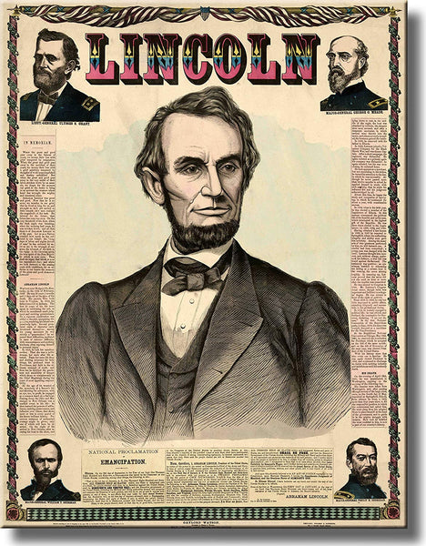 Abraham Lincoln in Newspaper Picture Made on Stretched Canvas Wall Art Decor Ready to Hang!.