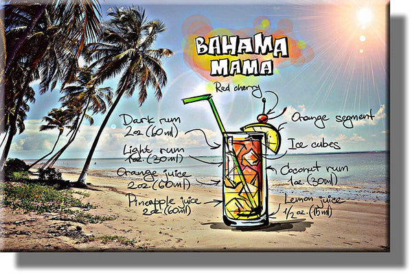 Bahama Mama Drink Picture on Stretched Canvas, Wall Art Decor, Ready to Hang!