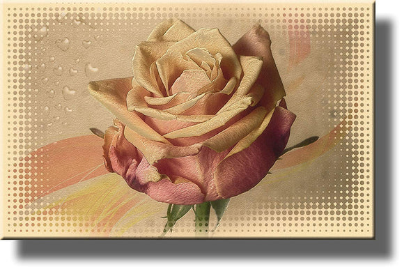 Light Pink Vintage Rose Flower Picture on Stretched Canvas, Wall Art Decor Ready to Hang!.