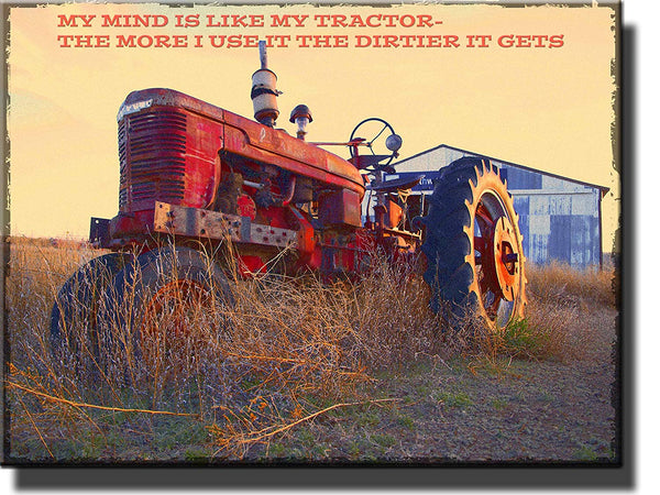 Vintage Tractor Picture on Stretched Canvas, Wall Art Decor Ready to Hang!.