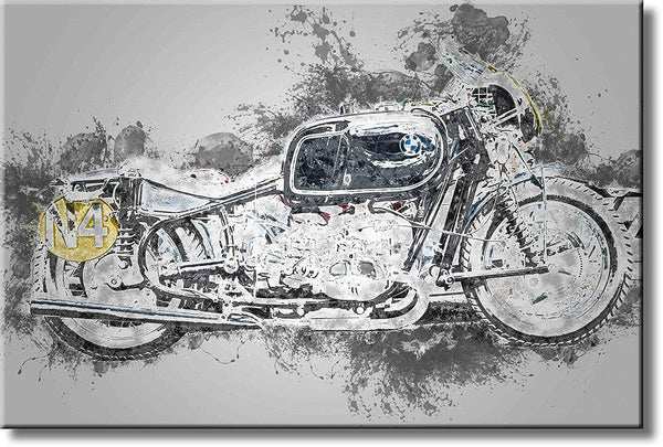 BMW Motorcycle Picture on Stretched Canvas, Wall Art Décor, Ready to Hang