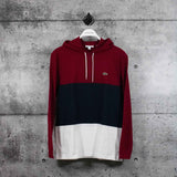 LACOSTE : Men's Color Block Long Sleeved Sweatshirt, White/Navy Blue/Burgundy
