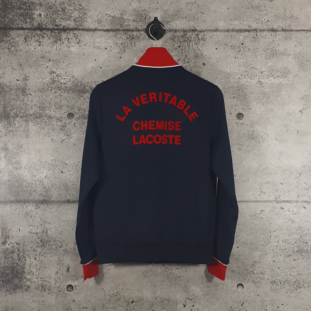 LACOSTE : Men's Sport Colourblock Resistant Piqué Zip Sweatshirt, Navy/Red