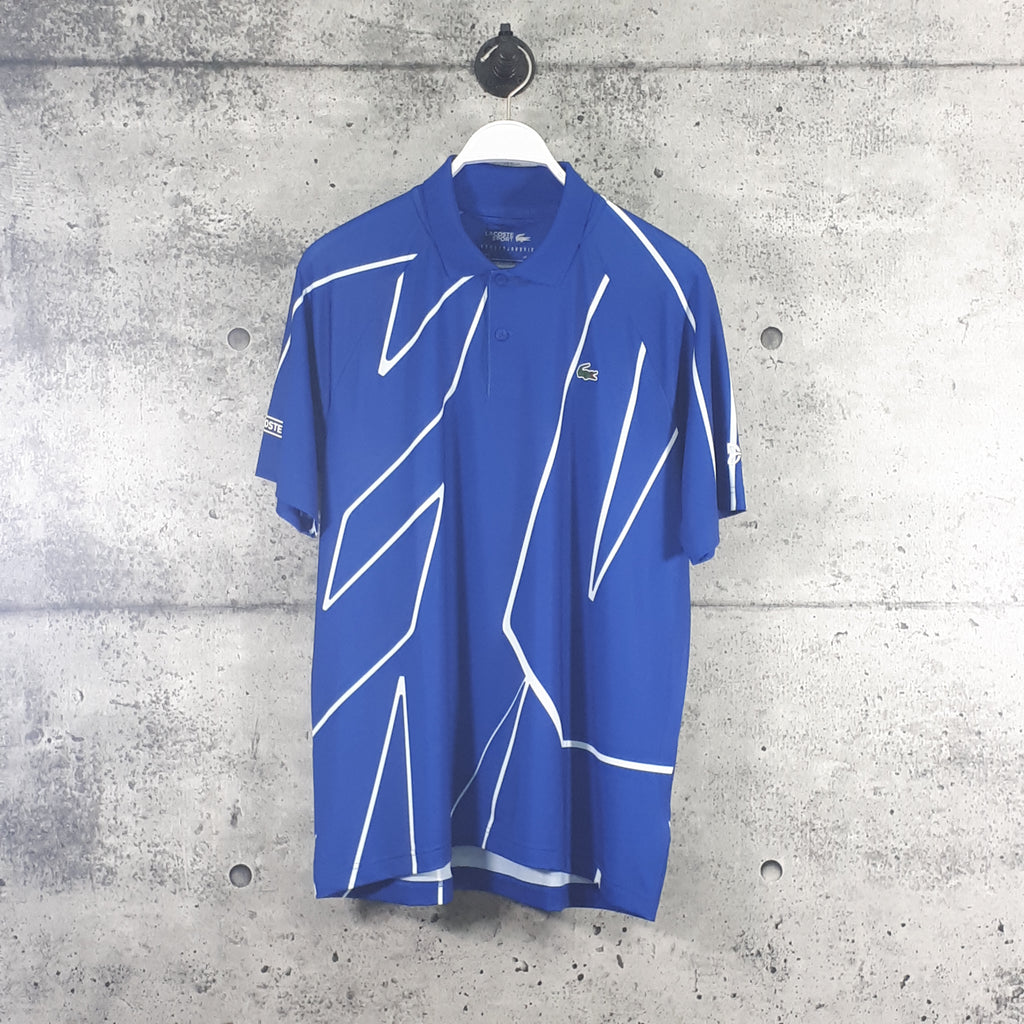 LACOSTE : Men's SPORT x Novak Djokovic Printed Breathable Polo Shirt, Blue