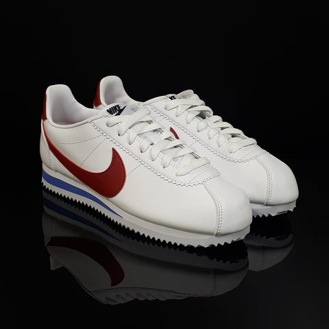 NIKE : Women's Classic Cortez Leather, White/Varsity Royal/Varsity Red