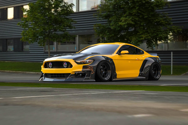 Clinched unveils their 15-17 Mustang wide body kit for SEMA available in dry carbon fiber and high quality ABS plastic it's a killer way to liven up your 2015-2017 Ford Mustang GT or Ecoboost.
