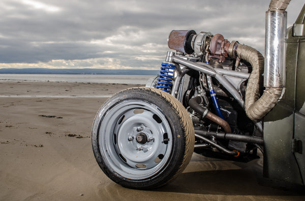 Matt Urch of Urchfab has built an awesome drift rod from a vintage consumer car, a 1953 Ford Popular, the cheapest car in Britain at its time of introduction using a custom tubular chassis, Saab engine and volvo rear axle and uses the car as rolling advertisement for his Fabrication business.