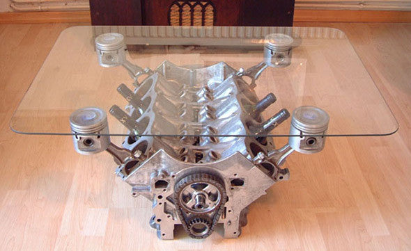 engine bolck table coffee table wine holder - KillFab Clothing Company