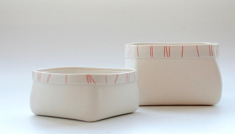 Porcelain Serving Bowl with Red Orange Stripes - Medium