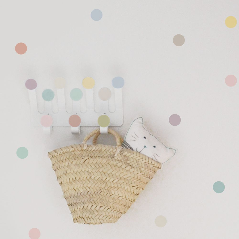 Coat rack with pastel color dots stickers