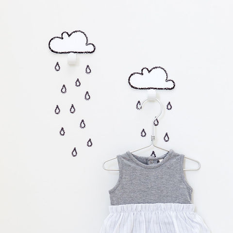 2 Clouds mint & rain drops stickers
