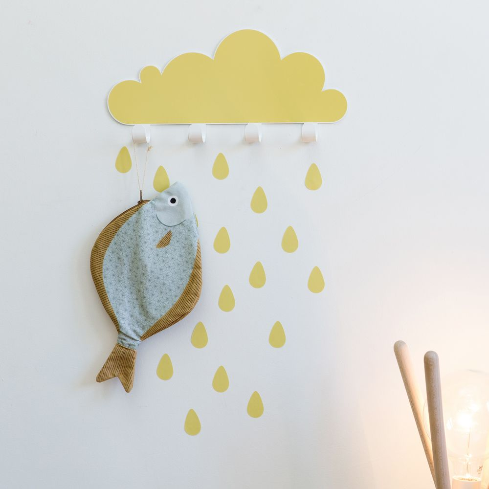 Coatrack cloud and vinyl raindrops