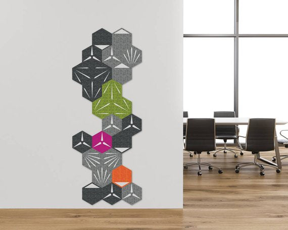 24 Hexagon wall decor kit - Athracite