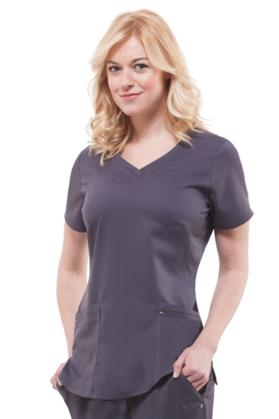 2245 - Purple Label by Healing Hands Women's Juliet V-Neck Yoga Scrub Top (CC)