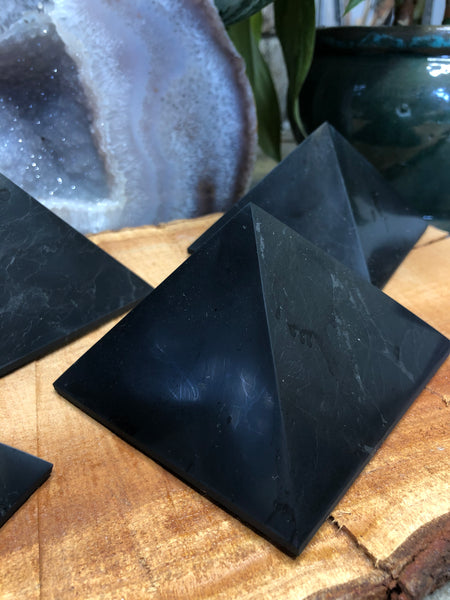 "4"" Shungite Polished Pyramid-GratefulGemHead"