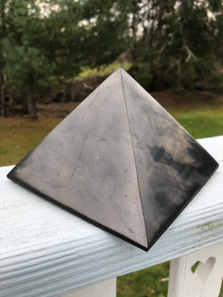 "5.75"" Shungite Polished Pyramid-GratefulGemHead"