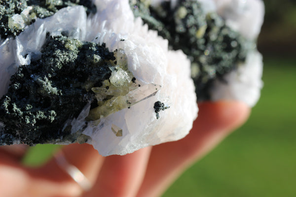 Bladed Calcite w/Quartz on Sphalerite-GratefulGemHead