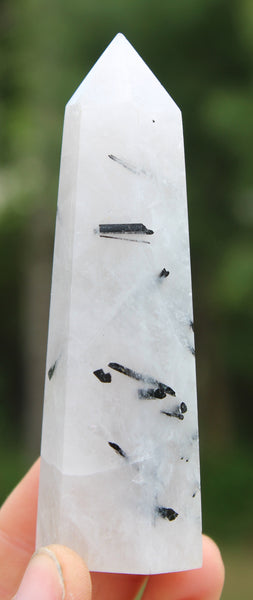 Polished Black Tourmaline in Quartz Obelisk-GratefulGemHead