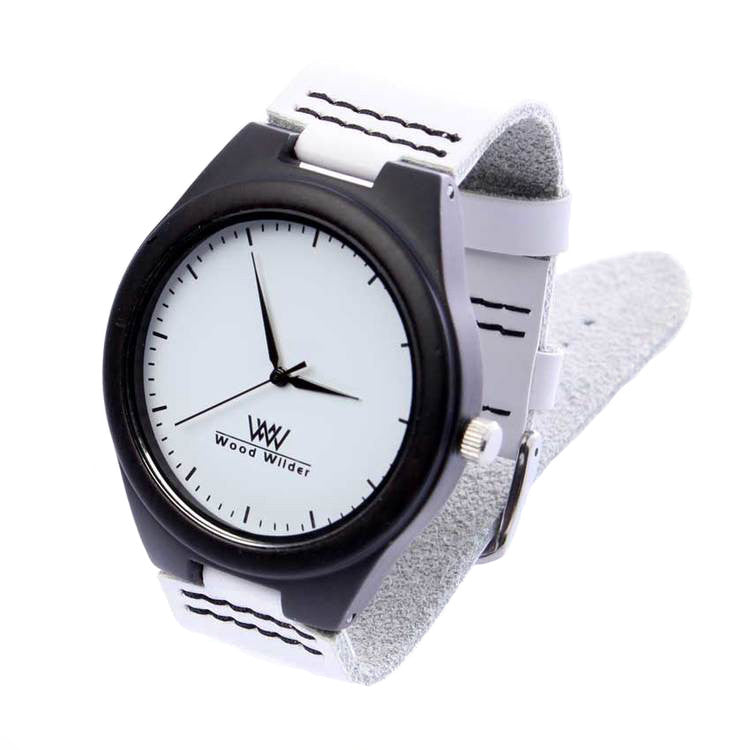 White Banded Ebony Wooden Watch