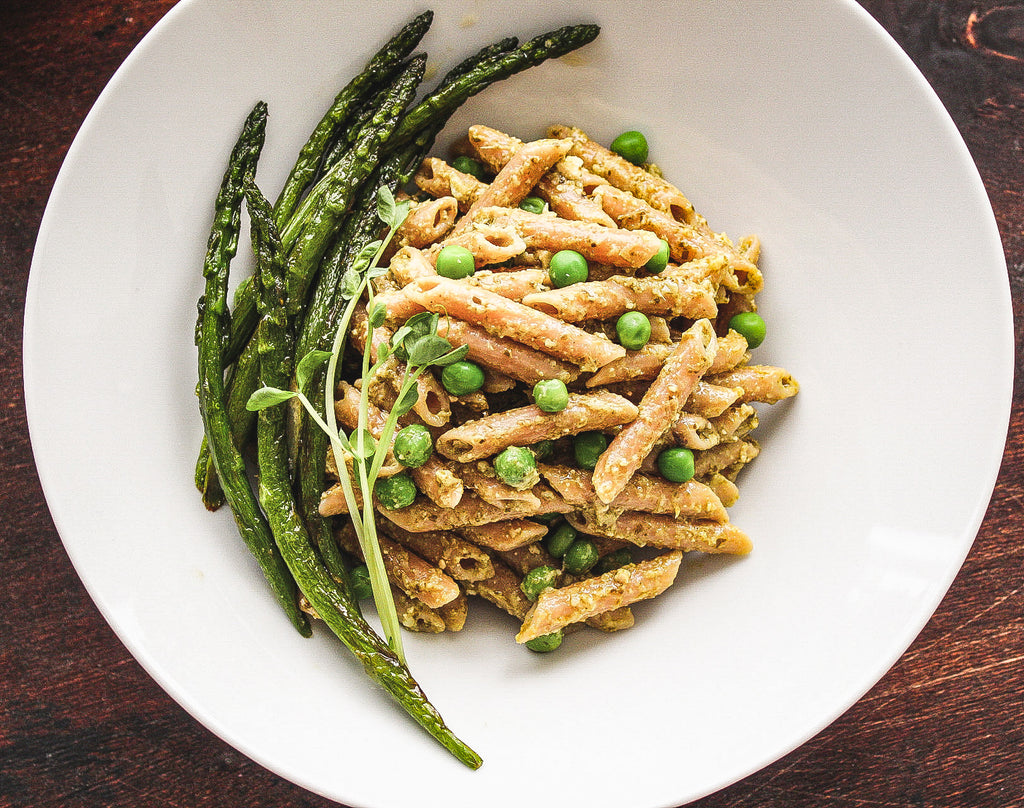 Pesto Pasta with Grilled Asparagus and Green Beans