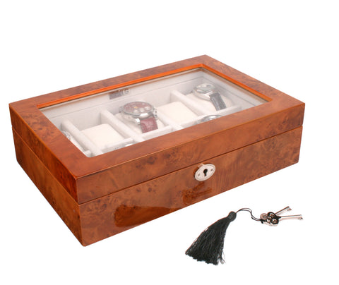 AXIS® Luxury 10 Watch Storage and Display Box, Finished in Gloss Burl Wood with Key