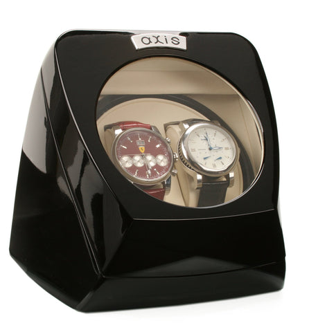 AXIS® Black Gloss Dual Automatic 2 Watch Winder Rotator New
