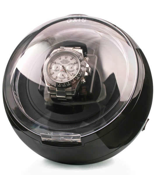 AXIS® Black Spherical Single Watch Winder with Blue LED light