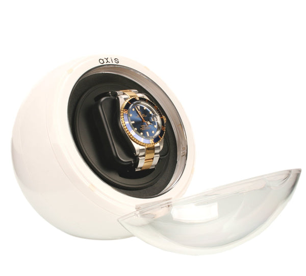 AXIS® White Spherical Single Watch Winder with Blue LED indicator