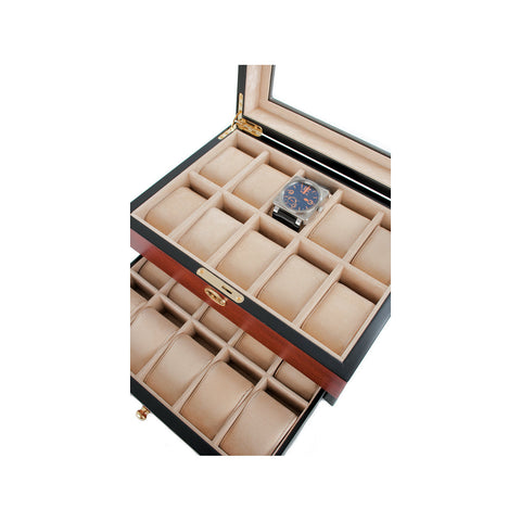 AXIS® Cherry Lockable Glossy Wood 20 Watch Box New with KEY