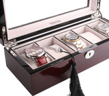AXIS® Red Cherry Gloss Wooden Storage Watch Box For 5 Watches - Axis Watch Winders