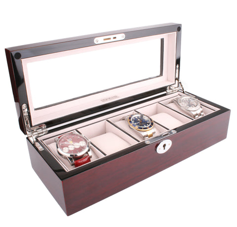 AXIS® Red Cherry Gloss Wooden Storage Watch Box For 5 Watches