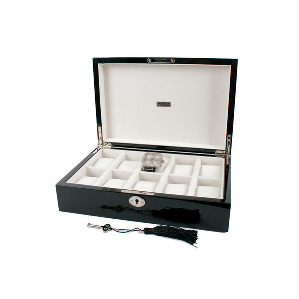 AXIS® Piano Black Luxury 10 Watch Storage Case Display Box