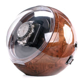 AXIS® Burl Spherical Single Watch Winder with Blue LED indicator - Axis Watch Winders