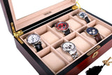 AXIS® Cherry Matte Finish Wooden Storage Watch Box For 10 Watches - Axis Watch Winders