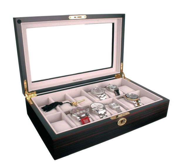 AXIS® Ivory Velvet Dark Mahogany Wooden Storage 12 Watch Box
