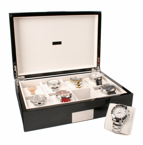 AXIS®  Wide High Gloss Black Wood 8 Storage Box for watches