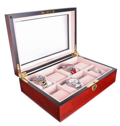 AXIS® Matte Cherry Lockable 8 Watch Box New