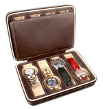 AXIS®  Dark Brown 8 Watch Luxury Travel Display Box Watch Case - Axis Watch Winders