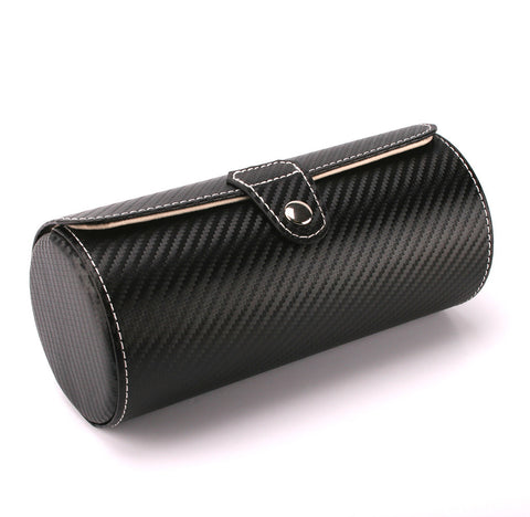 AXIS® Black Carbon Fibre Leather Effect Cylindrical 3 Watch Travel Case