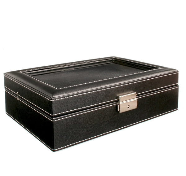 AXIS® ex display stock Black Leather lockable watch display storage box for 8 watches
