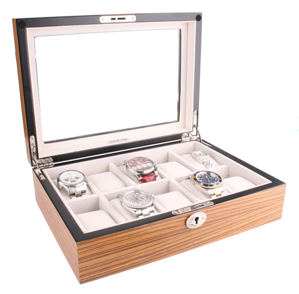 AXIS® Zebra Matte Finish Wooden Storage Watch Box For 10 Watches