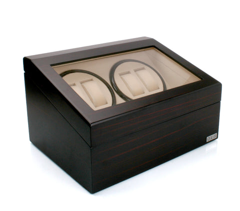 Axis Luxury Matte Cherry Quad Automatic 4 Watch Winder New