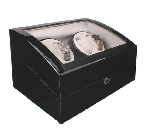 Axis Luxury Gloss Black Automatic 4 Watch Winder New with 5 watch storage