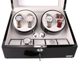 AXIS® Ebony Luxury Automatic 4 Watch Winder With 5 Watch Storage - Axis Watch Winders