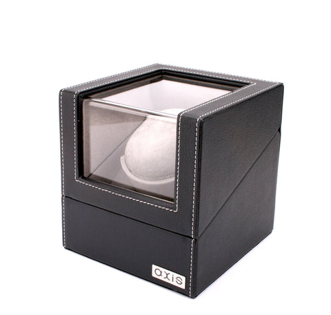 AXIS® Axis Luxury Black Leather Single Automatic 1 Watch Winder New