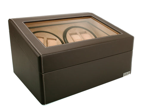 Axis Luxury Dark Brown Leather Quad Automatic 4 Watch Winder New