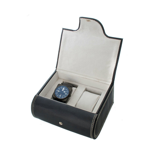 AXIS Two Watch Box PU Leather Travel Case With Felt Interior & Cushions
