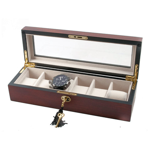 AXIS Fine Cherry Matt Wooden Storage Watch Box For 6 Watches